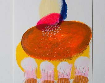 painting orange lake yellow original on paper acrylic pink fine art mixed media scandinavian danish
