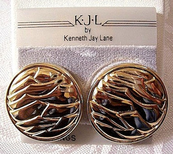 Button Lined Clip On Earrings Gold Tone Vintage KJL Round Large Domed