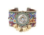 Friendship bracelet cuff 'Follow your bliss' - statement cuff with handstamped washer - statement jewelry - boho chic ibiza jewelry
