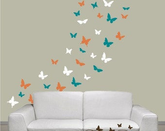 Butterflies Set of 48, 4 colors, Vinyl wall decals, living room, nursery, kids & teens room, removable decals stickers