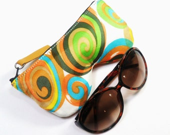 Retro Swirl Eyeglass Case, Sunglasses Pouch, Sunglasses Case, Zippered Eye Pouch
