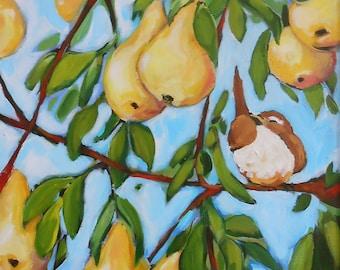 16x20 original painting - Bird in a Pear Tree
