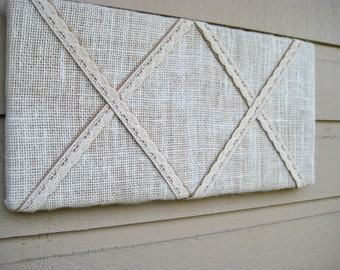 French Bulletin pinboard, Burlap with ecru lace, for your kitchen, cottage or bedroom, makes very pretty office decor