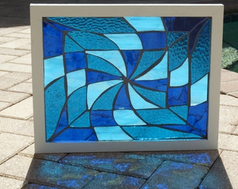 Blue Water Pinwheel Vortex Stained Glass Mosaic Frameables Repurpose Frame