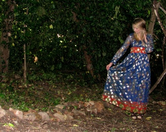 Vintage 1970s MAXI Metallic Princess Hippie Metallic Empire Waist PRINT Dress