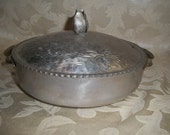 Antique Vintage 1940s Hammered Silvertone Decorative Design Bowl with Handles