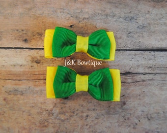 small green and yellow hair bow, set of hair bows, mini bows, baby hair bows, toddler hair bows, tiny bows, clip sets