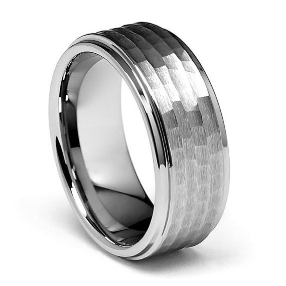 9mm Tungsten Carbide COMFORT FIT Hammered Wedding By Usajewelry