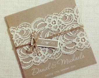 Rustic Wedding Invitation WHITE INK - Rustic Vintage Lace Square Invitation SAMPLE