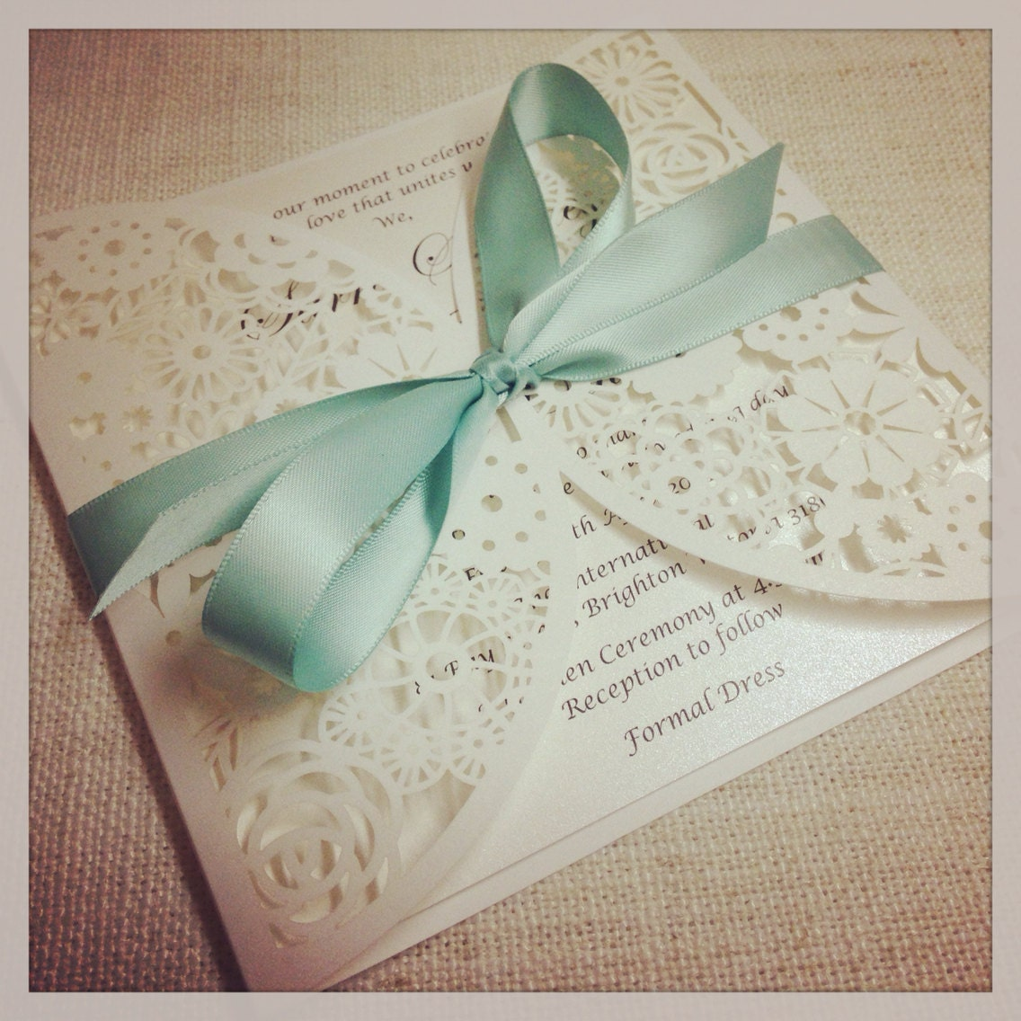 Mint Wedding Ideas: 40 X Floral Paper Lace Mint Wedding Invitation Laser Cut