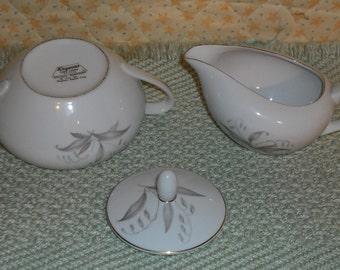 Clearance Vintage Kaysons Fine China Golden Rhapsody Creamer Pitcher Sugar Bowl w Lid Gold Trim Circa 1961 Japan Home Kitchen Dining