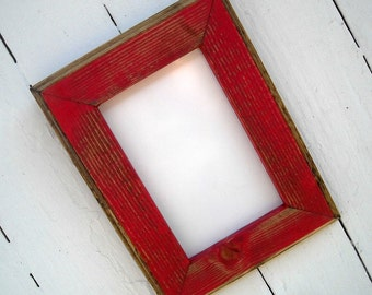 11 x 14 Picture Frame, Red Rustic Weathered Style With Routed Edges, Rustic Home Decor, Wooden Frames, Rustic Frames, Rustic Wood Frames