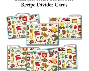 Printable 1950's Retro Housewife Recipe Divider Cards - Set of 6 combo