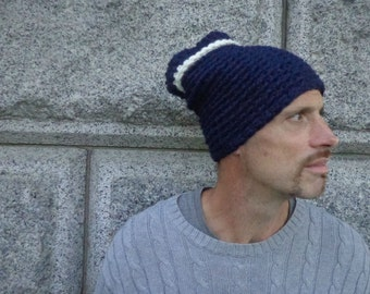 Hat, Tube, Slouch, Ridge, Chunky, Navy, Cream, Two Color