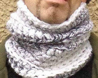 Cowl, Hat, Hair, Cozy, Scarf, Chunky, Gray, White, Warm, Neck Warmer, Winter, Fall, Unisex