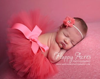 CORAL Newborn tutu and headband, newborn photography prop, baby tutu, birthday tutu....Many Colors Available
