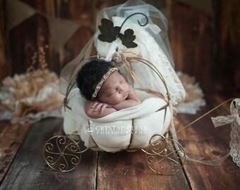 Gold Rhinestone Headband, Newborn headband, Newborn photography prop, Bling Band