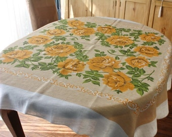 Vintage Linen Tablecloth Gold Orange Roses on Beige