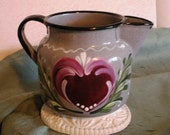 Chippy Enamelware Hand Painted Pitcher Rosemaling Folk Art OOAK Design Vintage