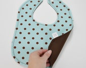 SALE Blue & Brown Polka Dot Bib Baby Snap Bib Gender Neutral Bib Woodland Nursery Theme Aqua Brown Baby Shower Baby Gift Under 15