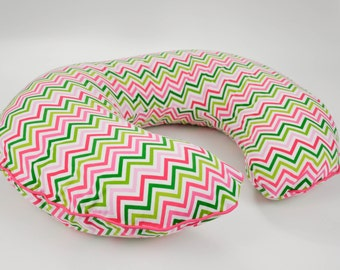 CLEARANCE, Boppy Cover in Pink Green Mini Chevron, Boppy Nursing Pillow Cover, Boppy Piping and Zipper, Baby Shower GIfts Under 50, Boppie