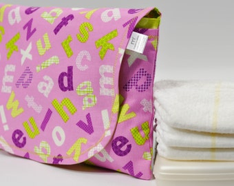 Diaper and Wipe Clutch in Orchid Alphabet