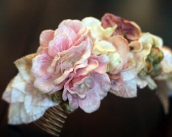 Blush Floral Wedding Crown-Headband