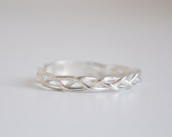 braid sterling silver ring - free shipping