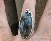 Native American Inspired Labradorite Sterling Silver Ring - Size 8-1/2