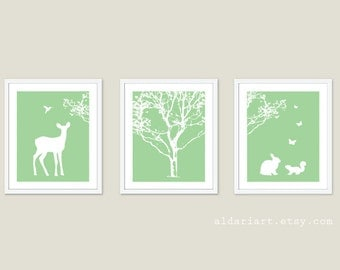 Woodland Nursery Art Prints - Forest Scene Nursery Wall Art - Deer Print - Tree Print - Squirrel Print - Butterflies Print - Green and White