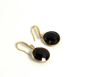 LP 1145  Faceted Black Onyx Coin Earrings With Vermeil Bezels