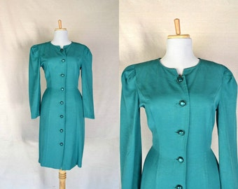 Green dress 80s vintage Large turquoise buttons down front Long sleeve Pleated at back Linen One button tying two side in back / Size small