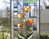 """California Poppies Over Geometric 2 & 3 --  Two Stained Glass panesl 12"""" x 17.5"""""""