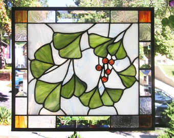 "Ginkgo Leaves with Berries --13.75"" x 16""--Stained Glass Window Panel"