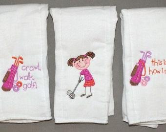 baby girl golf sports burp cloth set (3)