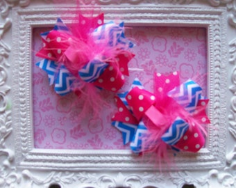 Chevron---Hair Bows Set of 2---Mini Funky Fun Over the Top Bows---Blue Chevron and Hot Pink