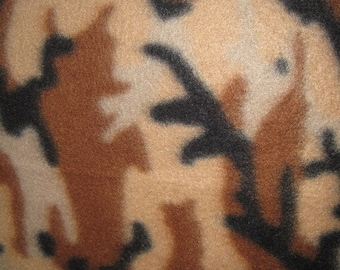 Camo Desert Brown with Black Fleece Throw - Ready to Ship Now