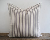 Pillow Cover Greyed Amethyst & Ivory Ticking Stripes Zipper