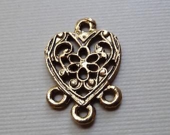 6  Vintage Brass Heart Chandelier Earring Findings - 20x14mm