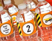 10 Construction Birthday Water Bottle Labels - Construction Birthday Decorations - Dump Truck Birthday Party