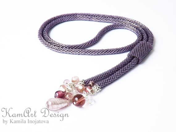 Bead crochet necklace lariat, beadwoven long purple rope with beaded element handmade gift for her
