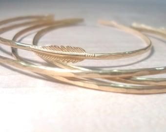 Feather bangle, Open bangle, Open end bangle, stacking bangles, feather bracelet, gold feather bangle, gold bangles, gold bracelets