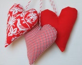 Valentine set of 3 red white plush softie heart ornaments shabby chic modern country