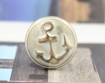 Metal Buttons - Anchor Metal Buttons , Copper White Color , Shank , 0.79 inch , 10 pcs