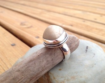 Handcrafted River Stone Antiqued Sterling Silver and Found Object Cocktail Ring Size 5.5 OOAK