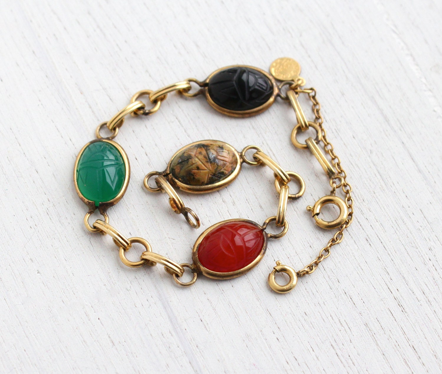 Antique Gold Charm Bracelet: Vintage Scarab Bracelet 12K Yellow Gold Filled Semi Precious