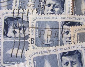 JFK 30 Vintage Kennedy Memorial US Postage Stamps 1960s President John Fitzgerald Kennedy Scott 1264 Blue Stamps Boston Politics Philately