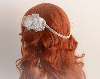 JULY SALE Boho Lace headpiece,1920s Gatsby headband,hair wrap,bridal Lace halo,One of a Kind Ivory lace with rhinestones and pearls