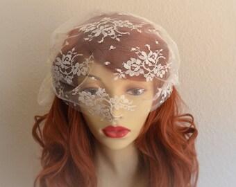 MADE TO ORDER, Ivory Lace Birdcage veil,Lace bandeau, lace veil headpiece,Chantilly lace veil,Side pouf veil, Romantic lace veil, Style C005