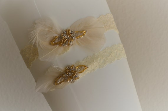 READY TO SHIP, Ivory Champagne lace garter, Feather fascinator garter, gold beading, champagne and gold,art deco garter, feather garter